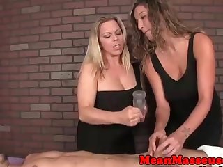 2 yam-sized jugged women are providing handjobs to dudes s a highly sensational rubdown apartment