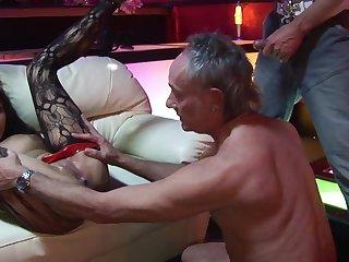 Elderly Libertines With Yam-Sized Spunk-Pumps Bang Obscene Striptease Female