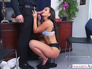 Voluptuous dark haired with a magnificent smirk is always in the mood to gargle a rock rigid cock