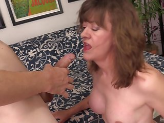 Mature amateur blonde granny Babe Morgan doggy fucked and fed cum