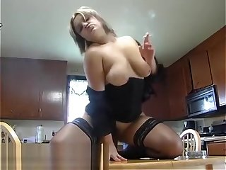 Smoking Kitchen Table Dildo Ride - ALHANA WINTER - RottenStar Vintage Video