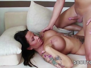 I cum over huge tits of my kinky chubby step mother!