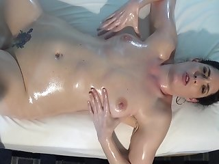 Big Oiled Lesbian Tits and Toy Fuck