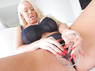 Solo hottie Alura pleases her tight pussy with sex toys