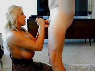 HD - Busty MILF Stepmom POV Deepthroat Blowjob