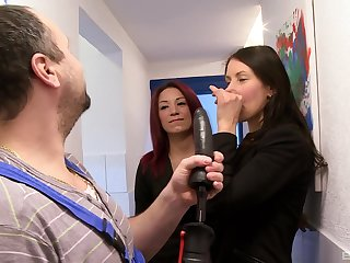 sweet girl Natalie Hot ramming a fat plumber's penis on the floor