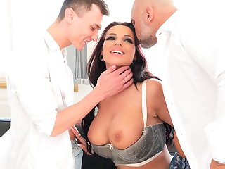 German hooker with big boobs Jolee Love gives her head and gets double penetrated