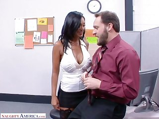 Fantastic Indian office nympho Priya Anjali Rai rides super long cock on top