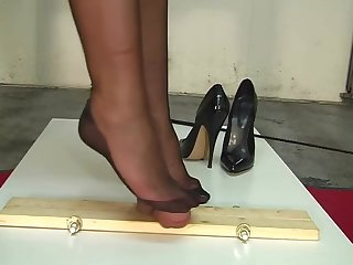 B&M-Slave-training....CBT torture. Nylon foot job.