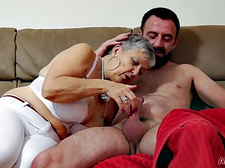 Busty granny Savannah makes love with younger dude
