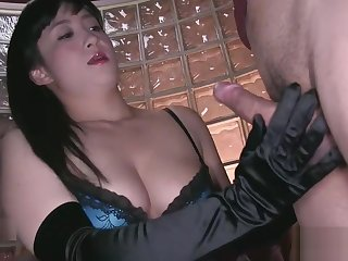 Japanese milf opera black satin glovejob