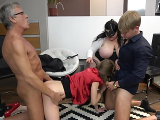 Old man and his BBW wife, cock sharing foursome with young couple