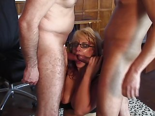 Two hard dicks can satisfy all sexual needs of hot and wild blonde