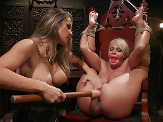 Intense lesbian femdom and rough toy fucking