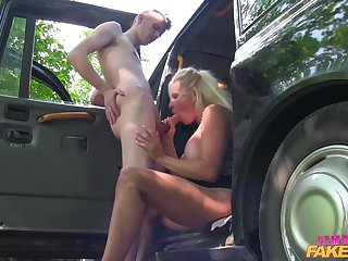 Skinny boy fucked blonde MILF Michelle Thorne by the car