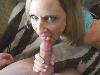 StepMom and stepson oral intercourse with money shot