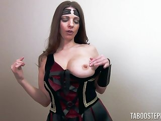 Cosplaying girl Mindi Mink drops on her knees to be fucked from behind