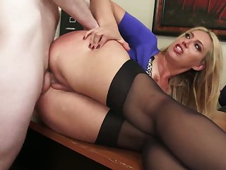 Arguing blonde bitch Stevie Lix gets shut up by cock into her mouth