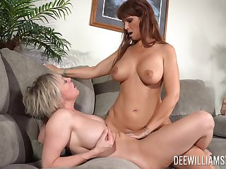 Matures Dee Williams and Syren De Mer with fake tits having lesbo sex