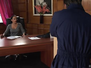 Busty mature office lady Romana Ryder in stockings fucked on the table
