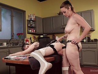 Big ass MILF ass fucks his male slave dressed as a maid