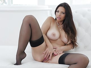 Busty princess reveals pussy and ass in erotic solo home play