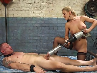 Cherie DeVille straps a dildo gag on him and uses his face to get off