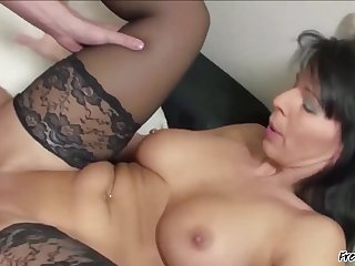 Beautiful Mature Woman With Nice Tits And Bald Pussy Fucked By Younger Guy