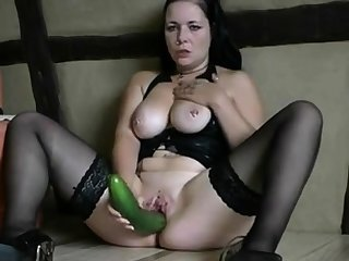 German slut with cucumber