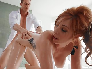 Big natural tits Lauren Phillips oiled up and fucked in her butt