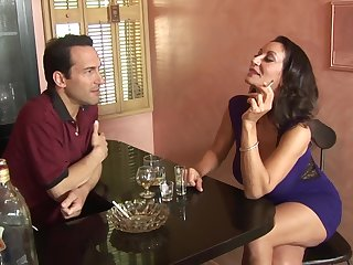 MILF Persia Monir with hairy pussy fucked on the table by her man