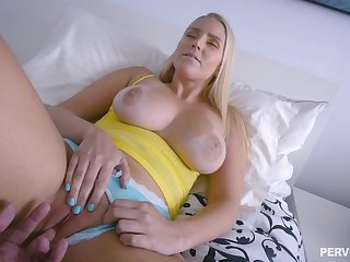 Blonde mom feels amazing with the step son's dick spinning her world