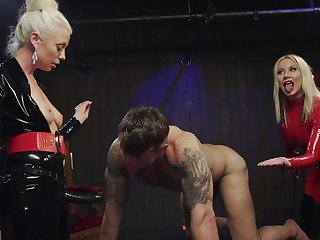 Dirty female domination on man's ass hole during rough XXX BDSM