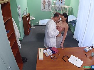 Busty brunette leaves horny physician to check her pussy too
