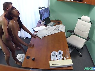 Naked ebony filmed in secret during hard sex with her physician