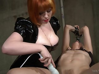 Hot mistress uses her boobs to get herself slaves and she loves electro play
