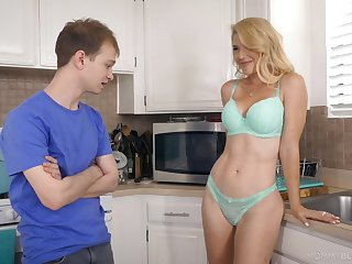 Half naked stepmom Kit Mercer allows to touch her boobies and gives the best ever blowjob