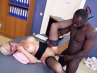 Slutty Blond Hair Babe Cougar Secretary Gets Dirty In - Interracial mom