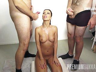 PremiumBukkake - Vicky Love swallows 17 huge mouthful cumshots
