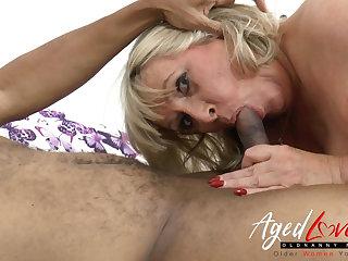 AgedLovE Big Black Knob in British Mature Vagina