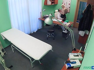 Hidden cam sex with a blonde busty wife and her doctor