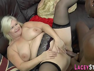 Granny has interracial assfucking sex