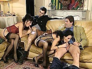 Masturbation before vintage group sex