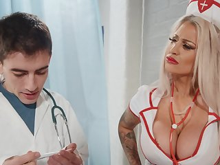 Seductive nurse bends that fine ass for cock
