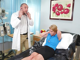 Fine moments when the young doctor fucks her mature pussy big time