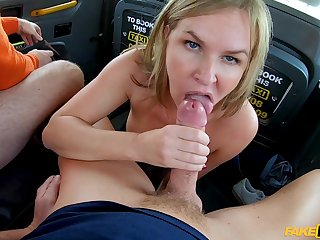 Naughty blonde slut Summer Rose fucked by her hubby and a taxi driver