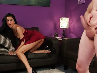 CFNM action between a tight brunette and a big dick