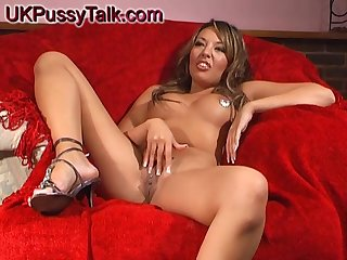 Brunette chick Rio Lee tries out a new toy on her tight pussy