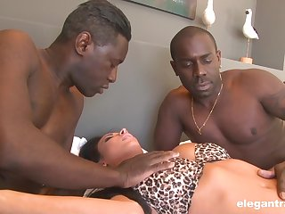 Black dudes roughly fuck a wife in the ass and pussy for serious XXX