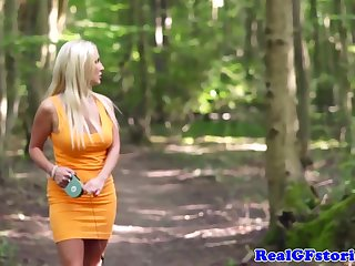 Super-Sexy, dark-hued boy is pulverizing a whorish blond dame in a local woods, near her home